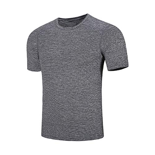 NUWFOR Camouflage Tops Men's New Summer Casual Printing Elastic Short Sleeve T-Shirt Tops