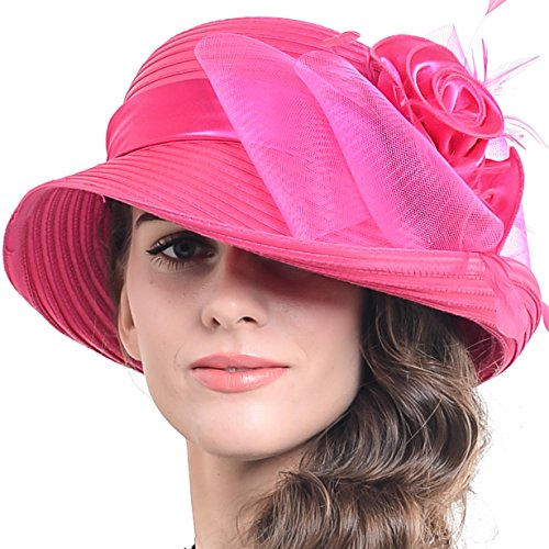 FORBUSITE Church Hats for Women Tea Party Dress Hat for Ladies Rose