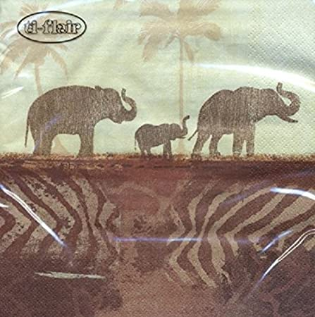 4 x Paper Napkins , Elephants in the morning mist , Ideal