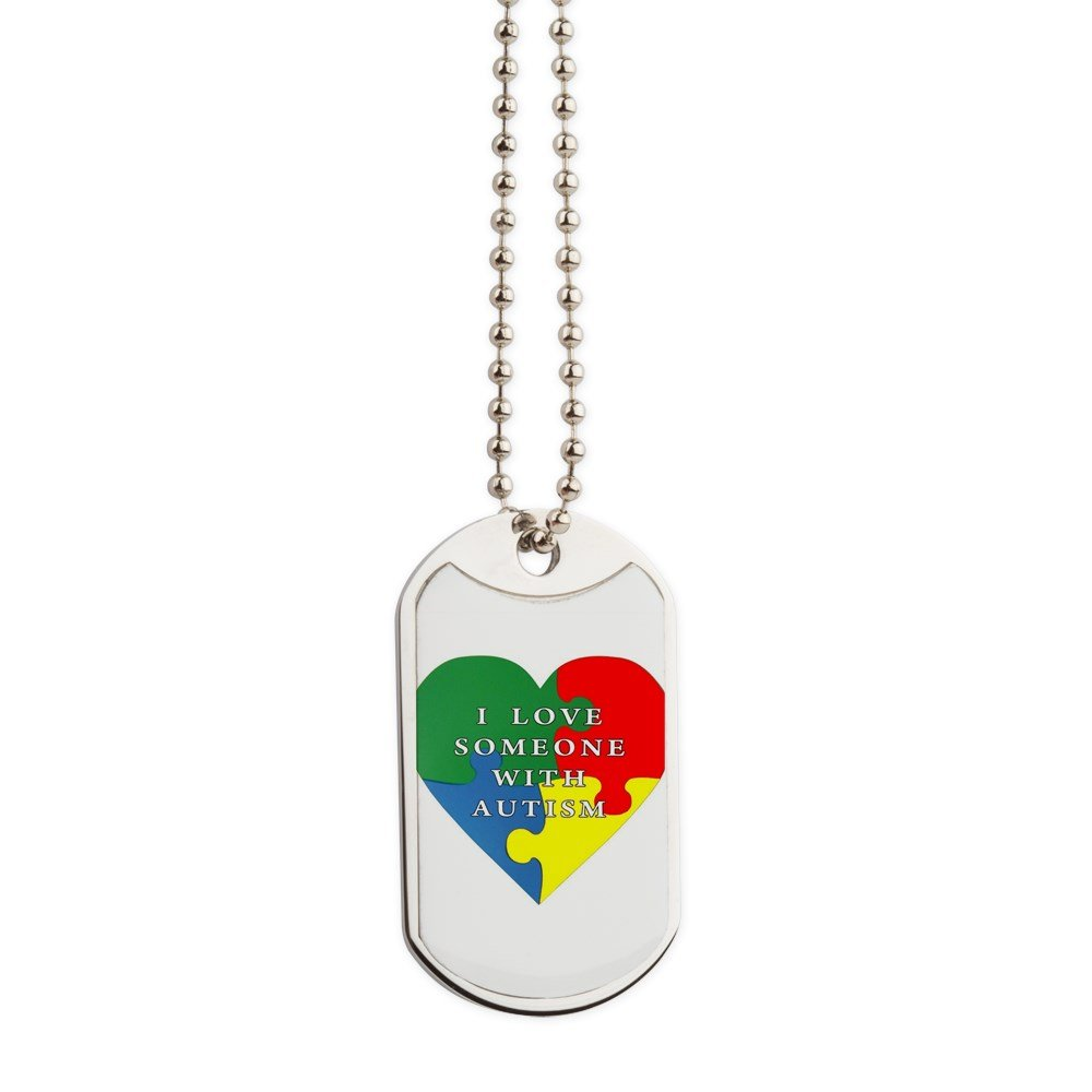 CafePress - Autism Love - Military Style Dog Tag, Stainless Steel with Chain