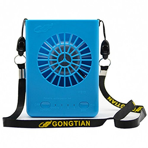 USB Mini Personal Fan With lanyard 3 Speeds Portable Necklace Fan USB Rechargeable Handheld Cooling Fans Powered by 18650 Li Battery,For Office Outdoor Travel Watch the games?Blue?