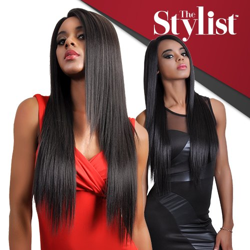 Hand Tied Synthetic Wig - The Stylist Synthetic Lace Front Wig Hand-Tied Curved Part Super Natural Straight (1B)