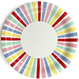 We Love Sundays Carnival Stripe Paper Plates | 10-Pack | Great for Summer/Circus/Festival Themed Parties