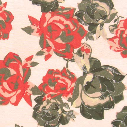 Indian Cotton Fabric Rose Print for Craft Pillow Covers Bulletin Boards 1 Yard by - Rose Cotton Fabric