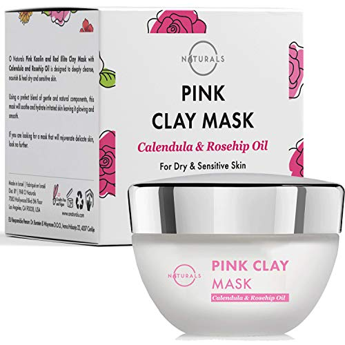 O Naturals Kaolin & French Illite Pink Clay Face Mask. For Dry & Sensitive Skin. Anti-Aging & Moisturizing. Soothe Red, Irritated skin. Gently Cleanse Pores. Calendula, Rosehip Oil & Vitamin E. 1.7 Oz