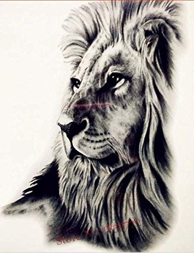 Mighty Lion Temporary Tattoos 5 1/2 x 8 Realistic Waterproof Tattoos Biker Rocker Transfers for Arms Shoulders Chest & Back