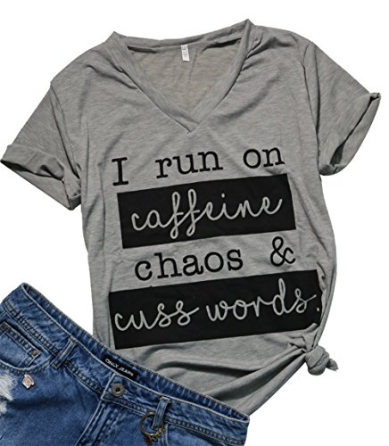 Womens I Run On Coffee Chaos Cuss Words Funny V-Neck Short Sleeve Summer T-Shirt Size XXL (Grey-1) by MAXIMGR