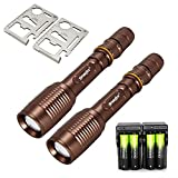 TOKEYLA Bronze Flashlighs Police Military Zoomable 5 Modes 2000 Lumen Led Flashlight & Battery Charger & Credit Card Survival Tool