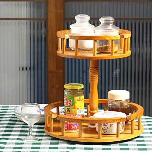 Cesta de almacenamiento de escritorio de doble capa Caja de almacenamiento Bastidor de cocina de madera Bastidores de...