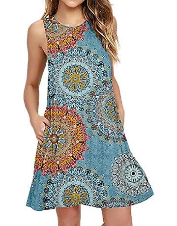 93f06e1a3eb PCEAIIH Women's Summer Sleeveless Pockets Swing T-Shirt Casual Dresses