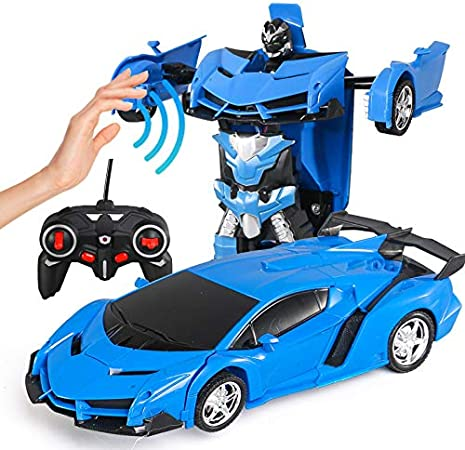 YHuHY 2 in 1 Remote Control Cars Transforming Robot with LED Lights, 1:18 Scale Gesture Sensing Car Transform Robot, One Button Deformation, 360° Rotation, Race Toys Gifts for Kids and Adult