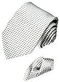 LORENZO CANA - Luxury Italian 100% Silk Woven Tie Hanky Set Silver White 4200801