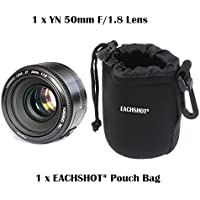 YONGNUO YN50mm F1.8 lens , AF/MF Standard Prime Lens for Canon EOS Rebel Camera With EACHSHOT Small Size Camera Lens Pouch Bag Cover