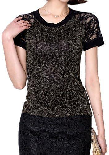Mujer Camisa Blusa elegante mujer Blusa – Camiseta de mujer – Camiseta de mujer – Punta/rejilla Nylon manga corta cuello redondo, color Dorado - dorado, tamaño M: Amazon.es: Deportes y aire libre
