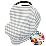 Premium Baby Car Seat Canopy Nursing Cover Multi-Use Stretchy 5 in 1 - Soft Breastfeeding Shawl for Infant Baby Boys,Girls- High Chair Shopping Cart Veil - Grey/White - Blanket - FREE RATTLE INCLUDED