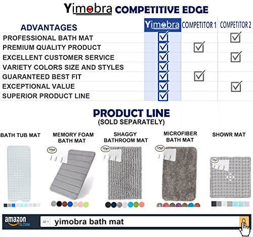 Yimobra Memory Foam Bath Mat Large Size 31.5 by 19.8 Inch,Maximum Absorbent,Soft,Comfortable,Non-Slip,Easier to Dry for Bathroom,Black (Presented Wall Hooks 3 Pack) by Yimobra (Image #7)