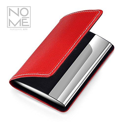 NOMĒ Womens Slim Business Card Holder - Small Pocket Case - Magnetic - Red Wallet Hardside Business Cases