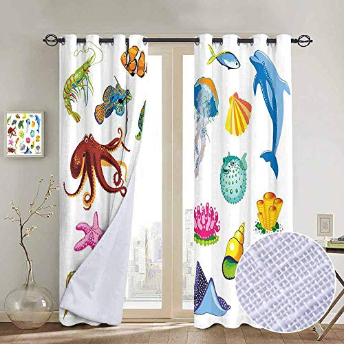 (NUOMANAN Kitchen Curtains Marine,Sea Animals Octopus Dolphin Shells Stingray Crab Turtle Jellyfish Wildlife Graphic,Multicolor,Rod Pocket Drapes Thermal Insulated Panels Home décor 120