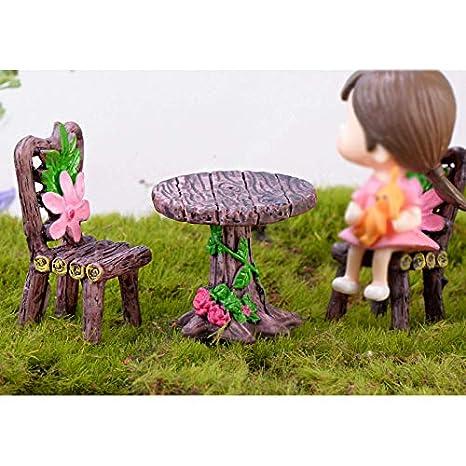 Phononey 1X Miniature Micro Landscape Ornaments Wooden Table Chair Decoration Round Table Flower Chair Resin Creative for Garden Bonsai Moss Succulent Plants DIY Decoration Dark Coffee