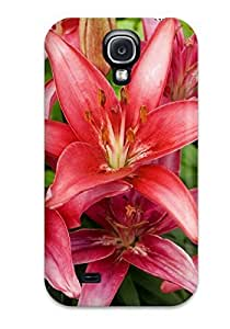 New Arrival Cover Case With Nice Design For Galaxy S4- Red Lilies Flowers