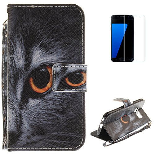 Samsung Galaxy S8 Plus Flip Magnetic Leather Case [Free Screen Protector] KaseHom Half Face Cat Animals Painted Design Folio Wallet Case with [Card Slot] [Hand Strap] Slim Protective Cover -