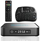 Globmall Android 6.0 TV Box with Wireless Qwerty Keyboard and Bluetooth 4.0, with Amlogic S905X Quad-Core CPU 64 Bits, Real 4K Playing