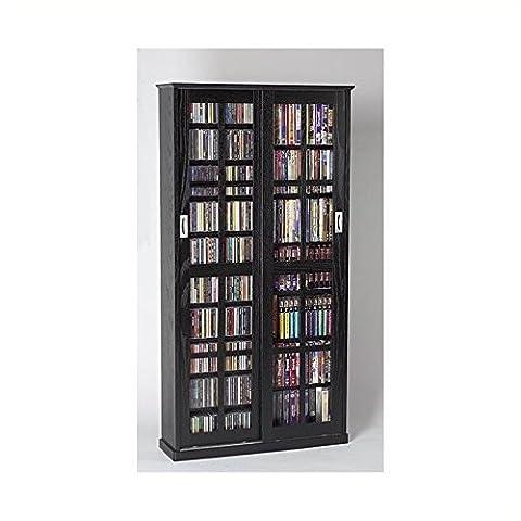 Leslie Dame MS-700B Sliding Glass Mission Style Door CD Storage Cabinet, Black (Cd Cabinet Mission)