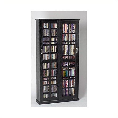 Black Glass Media Storage (Leslie Dame MS-700B Sliding Glass Mission Style Door CD Storage Cabinet, Black)