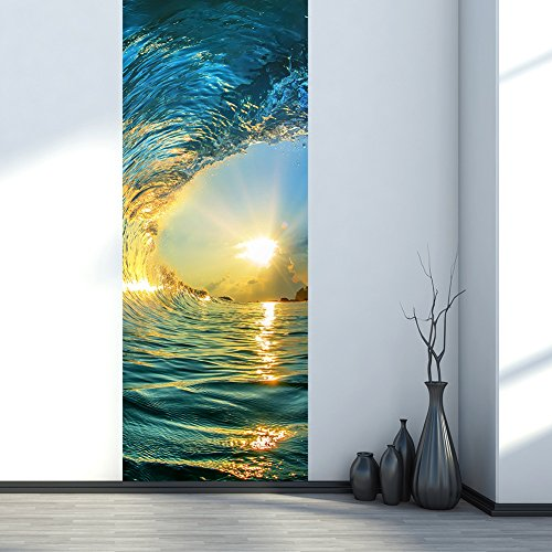 (ChezMax 3D Door Mural Art Sticker Removable Self Adhesive Wall Decal for Home Decoration Sunset Sea Pattern 30.3