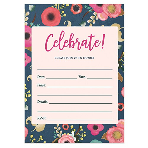 (Navy Floral Party Invitations with Envelopes ( Pack of 50 ) Beautiful Fill-In Bridal Shower, Retirement Party Invites Excellent Value Birthday, Anniversary Party Invitations VI0045)