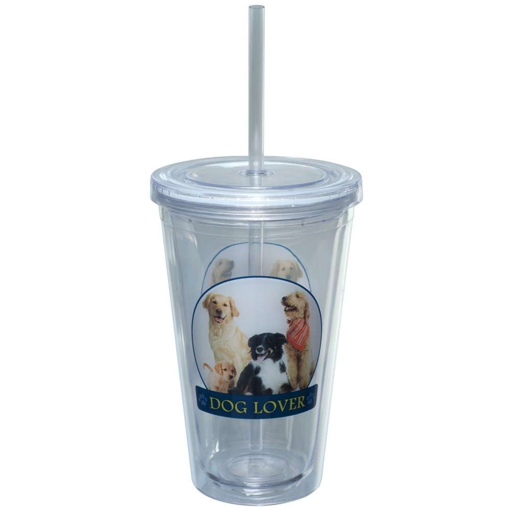 Animal World - Dog Lover Portait Plastic Pint Cup With Straw