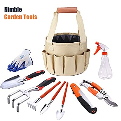 MidSir Garden Tools Set - Collapsible Gardening Bag, Gardening Tools with Garden Gloves and Garden Tote, Includes Garden Tote and 10 Piece Heavy Duty Gardening Kit