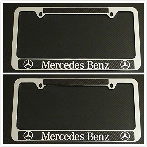 Tuesnut 2X Stainless Steel Black Carbon Fiber Vinyl License Plate Frame Covers Holder Screws Caps Rust Free for Mercedes-Benz