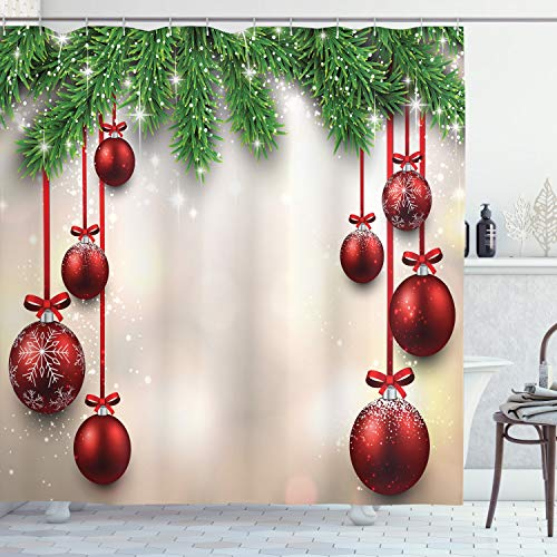 Ambesonne Christmas Shower Curtain, Xmas Traditional Winter Season Theme Fir Twigs and Vibrant Balls Graphic Print, Cloth Fabric Bathroom Decor Set with Hooks, 70 Long, Green Red