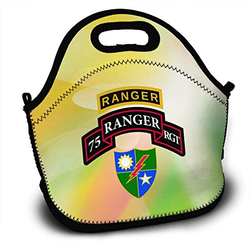 (Retro 75th Ranger Battalion Lunch Bag Tote Lunchbox With Handle Strap)