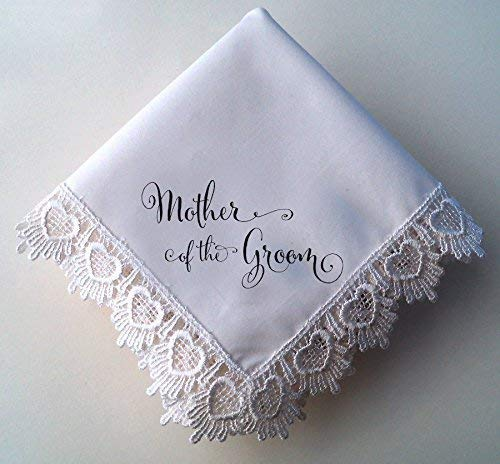 Mother of the Groom Wedding Handkerchief, Hearts Lace Hankie with Printed Calligraphy Script