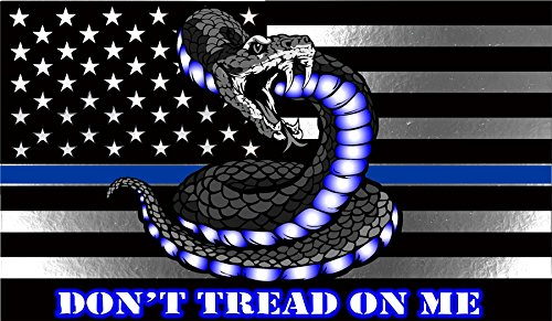 Blue Treads (Thin Blue Line Do Not Tread On Me Rectangle Reflective Decal- 2)