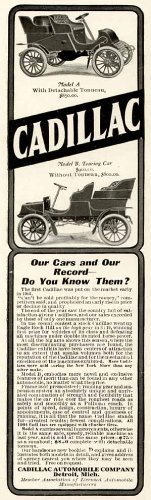 1904 Advertisement for Model A & Model B Touring Autos by Cadillac Original Paper Ephemera Authentic Vintage Print Magazine Ad/Article