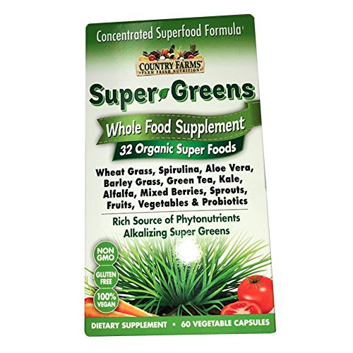 Country Farms Super Greens Whole Food Supplements Vegetable Capsules 60 Ea (Pack of 1)