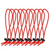 POWRIG 6' Bungee Cords Adjustable Cable Ties Cable management Reusable -Red (10-pack)