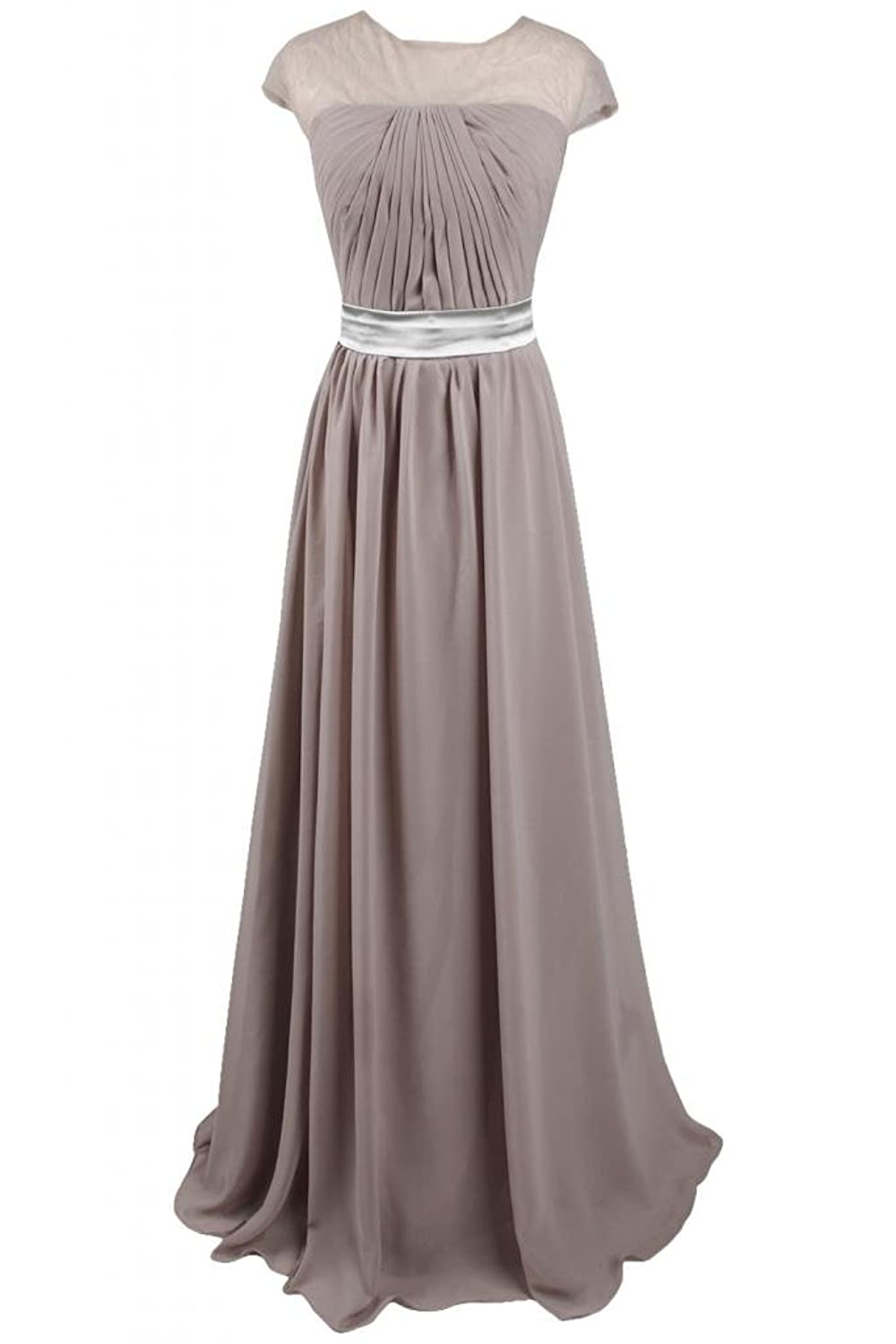 Sunvary Woman Simple Satin Jewel Full-Length Evening Party Dress Mother's Dress