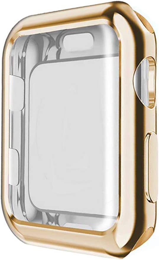 HONEST KIN Compatible Apple Watch 4 Case with Buit in TPU Screen Protector 44mm- All Around Protective Case High Definition Clear Ultra-Thin Cover Apple iwatch 44mm Series 4, Gold