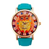 Owl Pattern,Baomabao Leather Band Analog Quartz Vogue Watch for Women Ladies Girls Gift_Green