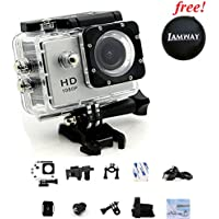 Sports Action Camera IAMWAY Ultra HD 30 Meter 1080P Waterproof DV Camcorde 2.0 inch LCD Screen Sport DV Giveaway Free Of Portable Travel Case For Earpieces,USB cables,Chargers,Coins etc.(Silver 1080P)