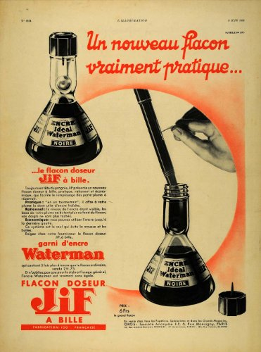 1935-french-ad-jif-waterman-fountain-pen-ink-lithograph-original-print-ad