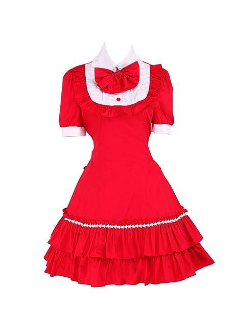antaina Vestido de coser de Lolita Victoriana clásica con volantes de algodón roja y encaje bowknot