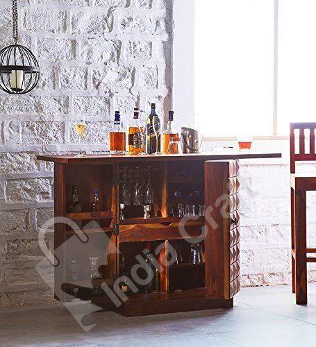 India Craft Pre-Assemble Sheesham Wood Stylish Bar Cabinet/Wine Rack/Beer Bar/with Wine Glass Storage- Living Room Furniture (Honey Oak Finish)