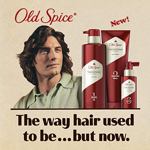 Old Spice Hair Thickening Bundle For Men, Biotin Shampoo, Vitamin C Conditioner, and Castor Oil Treatment