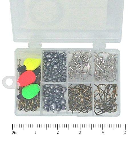 terminal-fishing-tackle-box-232-count-fishing-hooks-150ea-removable-split-shot-sinkers-79ea-float-bo