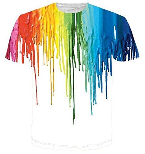 HWHColor Men Women Pride Gay LGBT Day T Shirt Print Paint Tee -